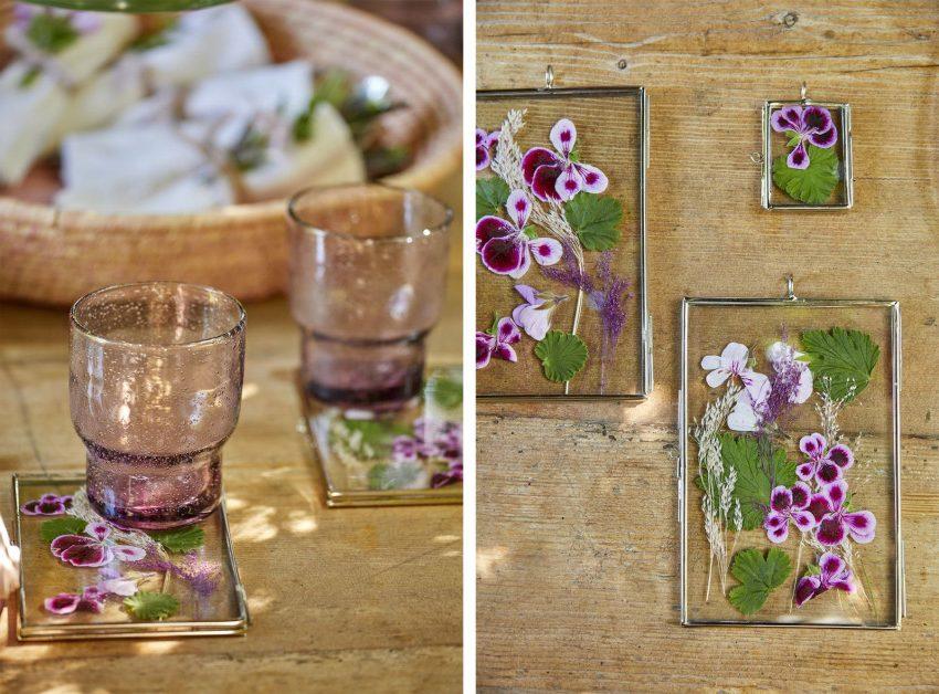 украшения из гераней - стеклянная рамка